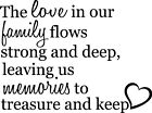 Love in our family Memories Decor vinyl wall decal quote sticker Inspiration
