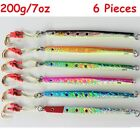 6 Pieces Speed Jigs 7oz /200g Knife Vertical Saltwater Fish Lures -Choose Colors