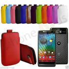 Large Premium PU Leather Pull Tab Case Cover Pouch For Motorola RAZR i XT890