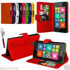 PU Leather Wallet Flip Case Cover & Retractable Stylus FOR Nokia Lumia Models