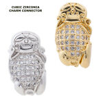 Cubic Zirconia Crystal Paved Happy Buddha Bracelet connector Charm Plated 2pcs
