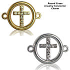 Christian Small Cross Circle Crystal Cooper Bracelet connector Charm Plated 8pc