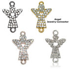 Loving Heart Angel Guardian Crystal Alloy Bracelet connector Charm Plated 8pcs