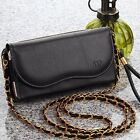 Universal Luxury Leather Wallet Case Pouch Purse For Smart Cellphone W/ Chain