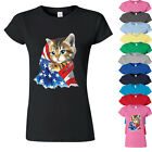 American Flag Kitty Womens Tshirt Cat in American Flag Lady Tee Shirt KITTY with