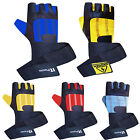 Leather Weight Lifting Gloves Gym Workout Body Building Long Strap Padded