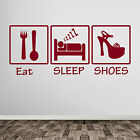 Eat Sleep Shoes Loves Shoes Girls Lady Shoe Wall Art Stickers Decals Hearts A383