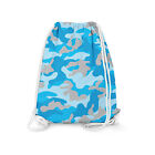 Camouflage Bright Blue Drawstring Bag - Heavy Cotton Canvas - 2 Sizes