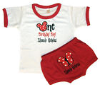 Personalized Boy's Red & White 1st Birthday Outfit Mouse Design