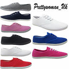 NEW LADIES JUNIORS WOMENS PUMPS CANVAS PLIMSOLLS GYM TRAINER SHOE UK SIZE 3 - 8