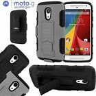 Full Body Armor Hybrid Case Kick Stand Belt Clip For Motorola Moto G 2nd Gen G2