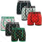 3 Pairs Mens Seamless Boxer Shorts Trunks Briefs Adults Weed Design Underwear