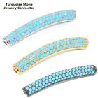 Paved Turquoise Stone Crystal Bracelet connector Tube Plated Cooper Material 1pc
