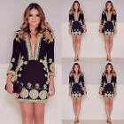 Sexy Women Floral Long Sleeve V Neck Party Evening Cocktail Short Mini Dress New