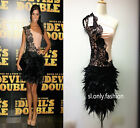 Womman Evening party dress One Shoulder Lace Feather celebrity dresses