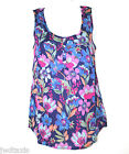 Sale Fat Face Blue Bright Pink Floral Print Cami Vest Tee Top  Size 8