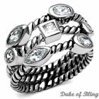 Women's Stackable 3 Ring Band Set Silver Stainless Steel Bezel Set CZ Size 5-10