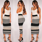 O-Neck Women Fashion Striped Maxi Dress Straight Backless Sexy Summer Beach A