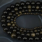 "Natural Golden Obsidian Gemstone Round Stone Beads 15.5"" 4MM 6MM 8MM 10MM"