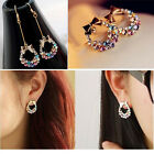 Crystal Colorful Rhinestone Bow Earrings Shiny Wedding Party Stud Earring