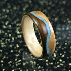 Ring-Wood Ring,Walnut and Cherry wood Ring with Turquoise,Natural Wedding Rings