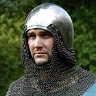 Medieval Bascinet Helmet with Chainmail Coif for Re-enactment Stage Costume LARP