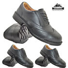 MENS EXECUTIVE BLACK LEATHER BROGUE MANAGER SMART WORK STEEL TOE CAP SAFETY SHOE