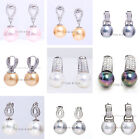 Choose Color Round Sea Shell Pearl Bead Dangle Drop Earring Crystal Zircon Paved