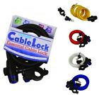 Oxford Motorcycle Bike / Cycle Cable Coiled Keyed Lock With Bracket 1.8mx12mm