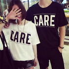 Summer Women Girlfriend Couples Short Sleeve CARE Letters Loose T Shirt Tops Tee