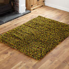 MEDIUM SMALL 7CM THICK PILE WOOL SHAGGY GREEN CLEARANCE AREA RUGS MATS FOR SALE