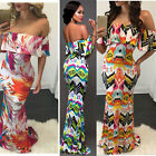 Hot Fashion Sexy Women Evening Party Slash Neck Beach Long Sundress Maxi Dress A