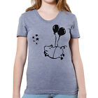 """Happy Flying Pig Graphic printed on Women's """"Junior Size"""" American Apparel T"""
