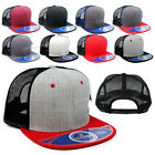 Blank Wool Blend Mesh Trucker Hat Plain Flat Bill Snapback Meshback Baseball Cap