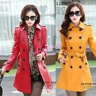 Womens POLO Collar Long Trench Dust Coats Jackets Outwear Faux Leather Button