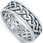 925 Sterling Silver Open Cut Celtic Knot Classic Wedding Band Ring Size 4-13