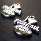 I Love Football Charms - Wholesale Silver Plated Pendant C7813 - 10, 20 Or 50PCs