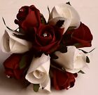 Flowergirl Ivory Silk Ruby Red Rose Bridesmaid Wedding Flowers Diamante Posy