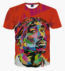 Tupac Hooded Graphic Funny Hiphop rap 2pac 3D Print Red T-shirt Short Sleeve Men
