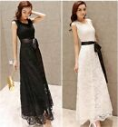 Women Sundress Belted Lace Sleeveless Maxi Ladies Long Evening Party Prom Dress