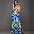 Summer Sheath Sexy Women Spaghetti Strap Backless Party Printed Long Dress A