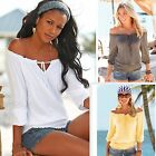 Women shirt Casual lace up slash neck loose blouse T Shirt Top blusas CASUAL NEW