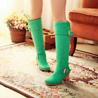 Womens Chunky Mid Heel Buckle Candy Color Pull On Knee High Riding Boots Plus SZ