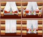 Ready Made Voile Net Curtain with Stripe Curtain 4 PCS 4 METHOD OF DRAPINGS SALE