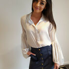 White Vintage Women Sexy Summer Vintage Tops Long Puff Sleeve Shirt Casual A