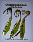 """BoTie 1/8 or 1/16 weighted Hook with 3 Swim Baits  """"Neon Fire Body"""""""