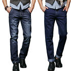 Mens Denim Jean Straight Slim Fit Casual Pants New Premium Dark Blue Trousers