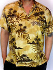 MENS SEXY COFFEE BROWN PALMTREE FRONDS HAWAIIAN WEDDING SHIRT SZ S M L XL 3XL