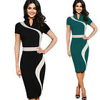 Women Elegant Casual Short Sleeve Tunic Work Business Bodycon Party Pencil Dress