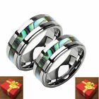 Silver Tungsten Matching Wedding Bands, Abalone Inlay, 2-Ring Set, His and Her's
